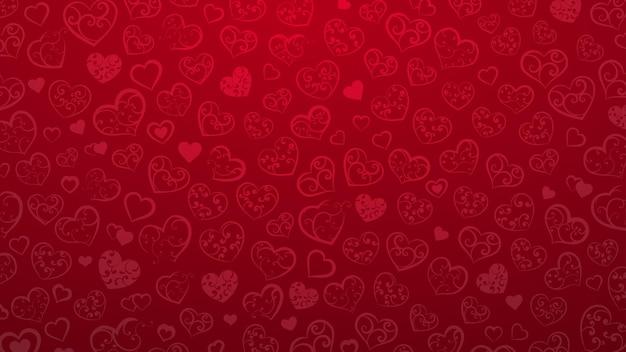 Achtergrond van kleine harten met ornament van krullen, in rode kleuren