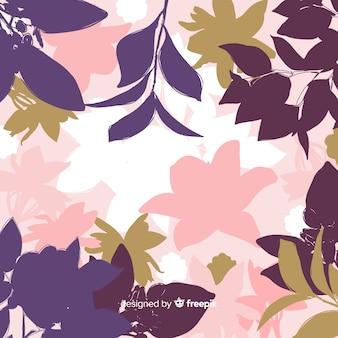 Achtergrond van kleurrijke bloemensilhouetten