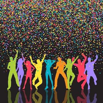 Achtergrond van kleurrijke confetti met silhouetten van mensen die partij
