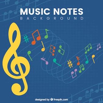 Achtergrond van kleurrijke muzieknoten en gele treble sleutel