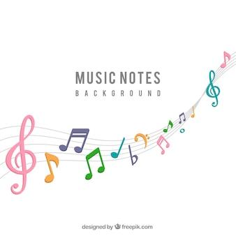 Achtergrond van kleurrijke muzieknoten