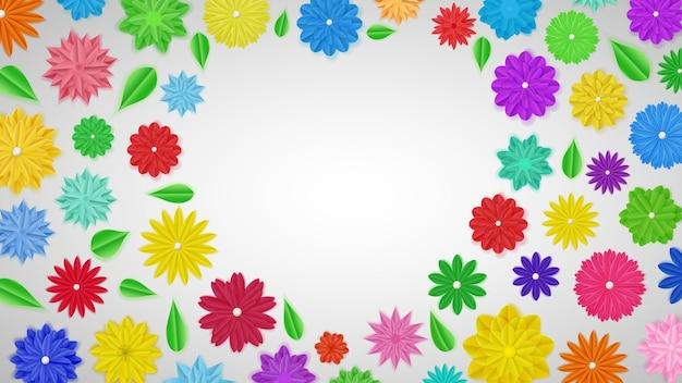 Achtergrond van kleurrijke papieren bloemen met schaduwen in de vorm van een hart