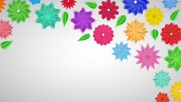 Achtergrond van kleurrijke papieren bloemen met schaduwen