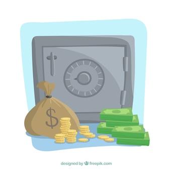 Achtergrond van kluis met notities en munten