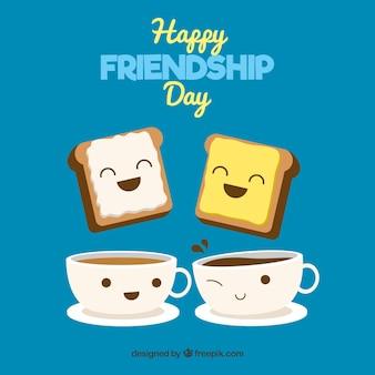 Achtergrond van kopjes koffie met toast