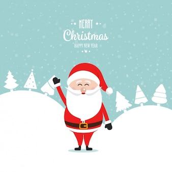 Achtergrond van lachende kerstman met kerst bomen