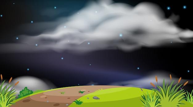 Achtergrond van landschap met heuvel bij nacht