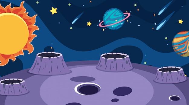 Achtergrond van landschap met planeten in donkere ruimte