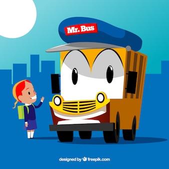 Achtergrond van meisje en schoolbus