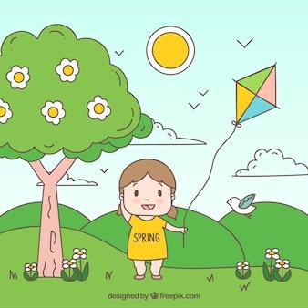 Achtergrond van meisje met vlieger in de hand getekende veld