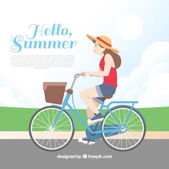Achtergrond van meisje op de fiets