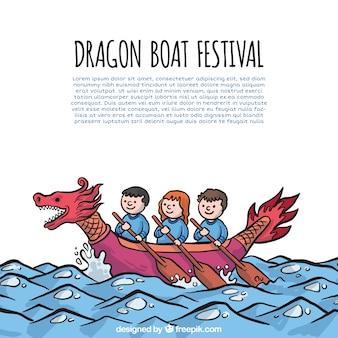 Achtergrond van mensen vieren drakenboot festival
