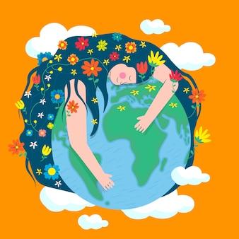 Achtergrond van moeder aarde dag in platte ontwerpstijl