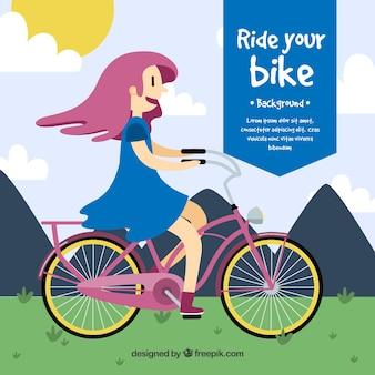 Achtergrond van mooi meisje met fiets in plat ontwerp