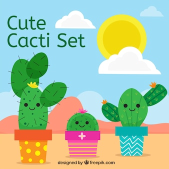 Achtergrond van mooie cactuskarakters in vlakke vormgeving
