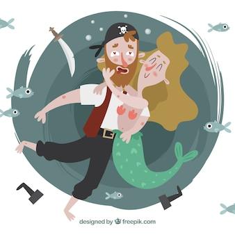Achtergrond van mooie piraat in liefde knuffelen een meermin