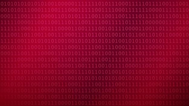 Achtergrond van nullen en enen in rode kleuren