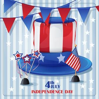 Achtergrond van onafhankelijkheidsdag op 4 juli met vlaggen en petten.