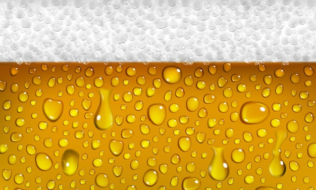 Achtergrond van oppervlak van een glas bier met schuim en druppels