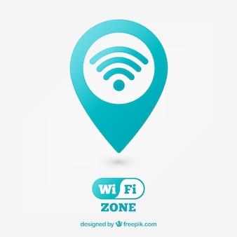 Achtergrond van pin kaart met wifi