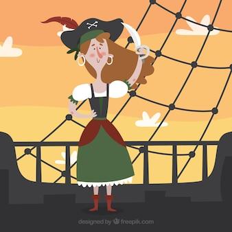 Achtergrond van piraat vrouw op een boot