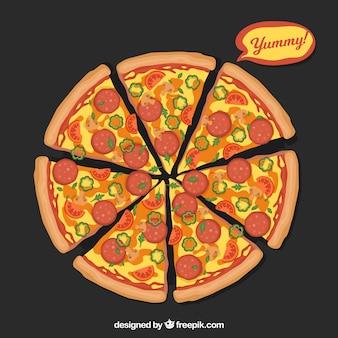 Achtergrond van pizza met kaas en salami