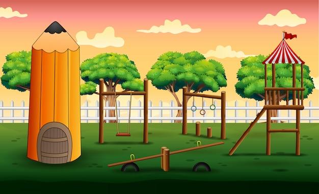 Achtergrond van potlood huis met speeltuin
