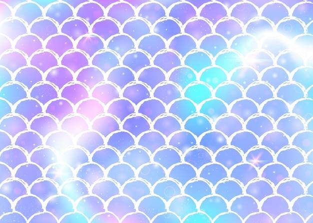 Achtergrond van regenboogschalen met patroon van zeemeerminprinses