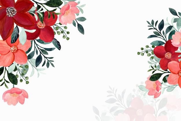 Achtergrond van rode bloemen en groene bladeren met waterverf