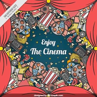 Achtergrond van rode gordijnen en handgetekende film elementen