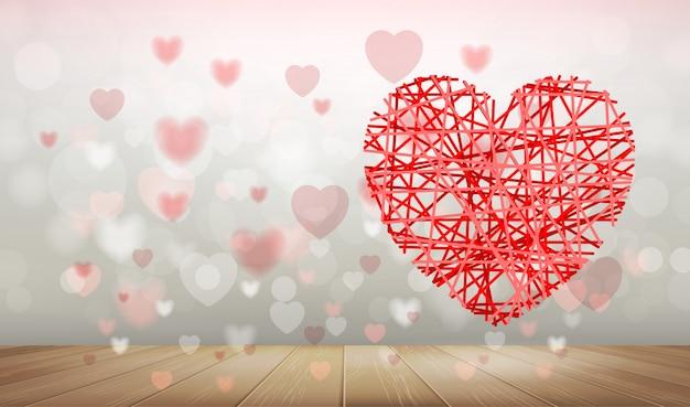 Achtergrond van rood hart met licht vaag bokeh.
