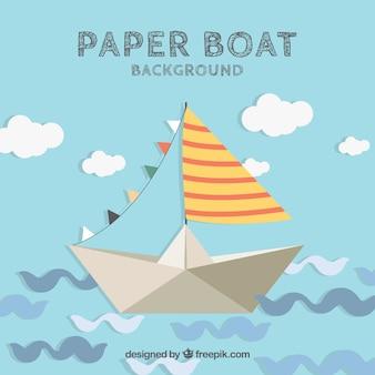 Achtergrond van schattige papieren boot met abstracte golven