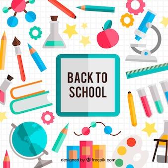 Achtergrond van schoolelementen met vlak ontwerp