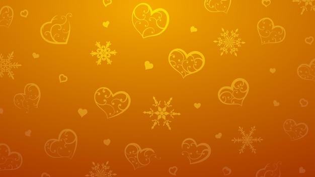 Achtergrond van sneeuwvlokken en harten met ornament van krullen, in oranje kleuren