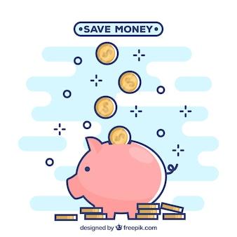Achtergrond van spaarvarken met munten in lineaire stijl