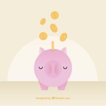 Achtergrond van spaarvarken met munten