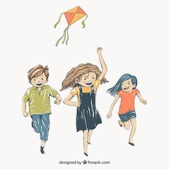 Achtergrond van spelende kinderen met een vlieger