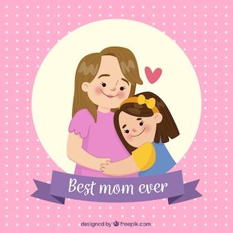 Achtergrond van stippen met een scène van moeder en dochter