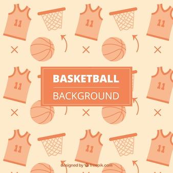 Achtergrond van t-shirts met bal en de mand van basketbal