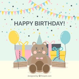 Achtergrond van teddybeer met verjaardagscadeaus