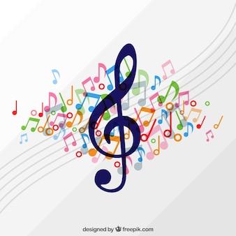 Achtergrond van treble sleutel met pentagram en gekleurde muzieknoten