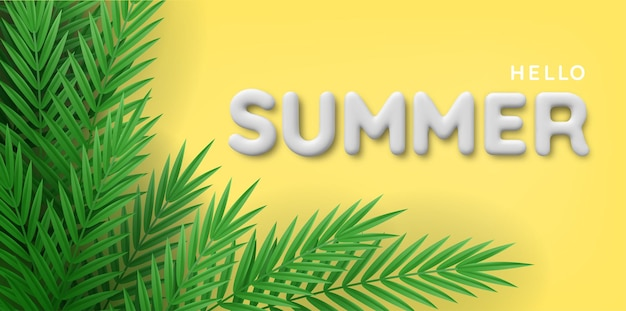 Achtergrond van tropische planten en 3d-witte zomer inscriptie