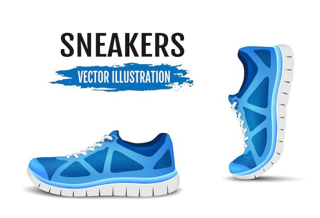 Achtergrond van twee loopschoenen. blauwe sportschoenen voor hardlopen. blauw gebogen sportschoenen voor hardlopen. illustratie