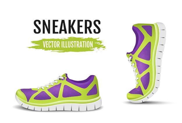 Achtergrond van twee loopschoenen. kleurrijke sportschoenen voor hardlopen en kleurrijke gebogen sportschoenen voor hardlopen. illustratie