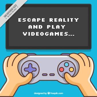 Achtergrond van video game met een inspirerende uitdrukking