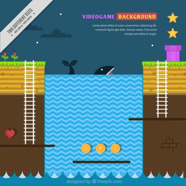 Achtergrond van video game met een walvis