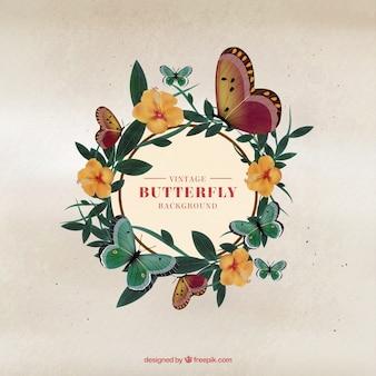 Achtergrond van vlinders bloemenkroon