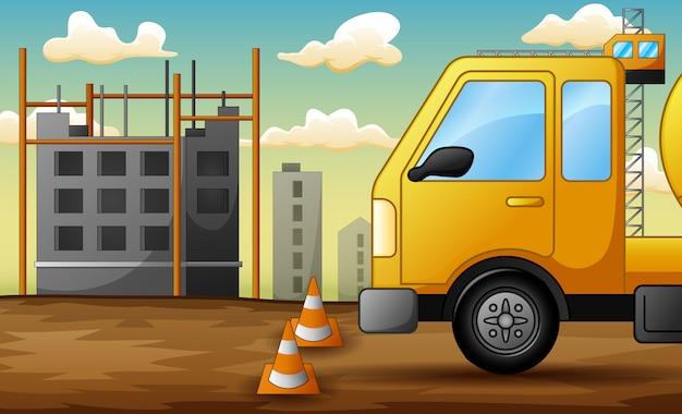 Achtergrond van vrachtwagen op bouwwerf