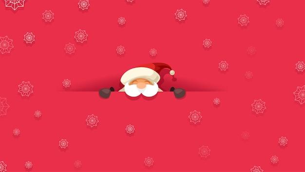 Achtergrond van vrolijke kerstman op zoek naar voren doorgesneden op rode achtergrond met sneeuwvlokken