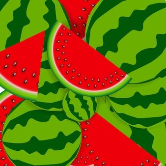 Achtergrond van watermeloen. vectorillustratie.